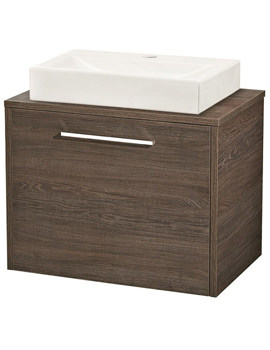 Hudson Reed Horizon Mid Sawn Oak 600mm Vanity And Worktop-FHZ022