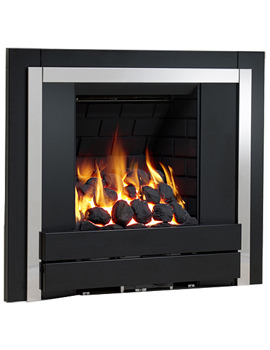 Panoramic Slimline Inset Gas Fire Plain Black-Pebble - 32107