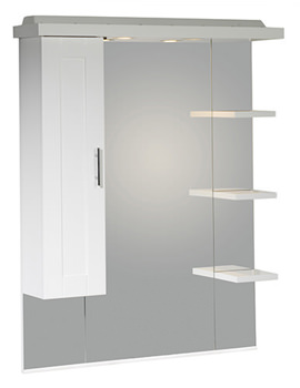 New England 800mm White Mirror With Canopy-Shelves-Cupboard