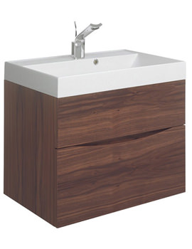 Bauhaus Glide II 700 x 455mm 2 Drawer Basin Unit American Walnut