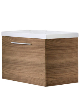 Envy 700mm Walnut Wall Mounted Unit Including Basin