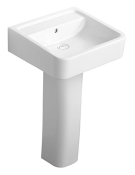 Cube White Basin 500mm With Full Pedestal