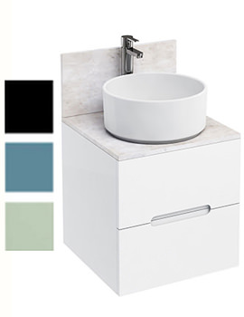 Related Britton Aqua Cabinets D500 Wall Mounted White Unit With Round Basin
