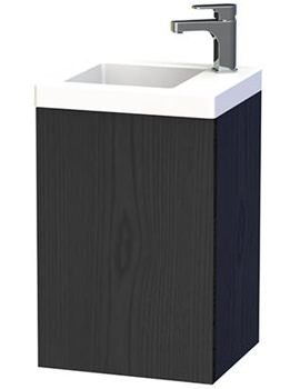 New York 40 Black Wall Hung Basin Vanity Unit With Door