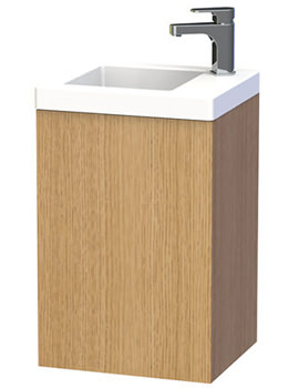 New York 40 Oak Wall Hung Basin Vanity Unit With Door