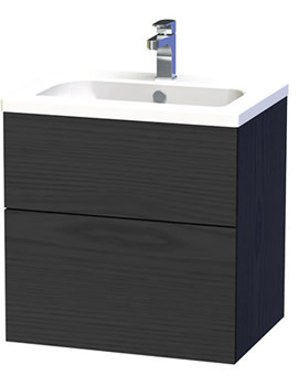 New York 60 Black Two Drawer Wall Hung Vanity Unit - 288-4