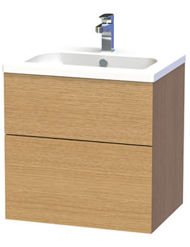 New York 60 Oak Two Drawer Wall Hung Vanity Unit - 288-5