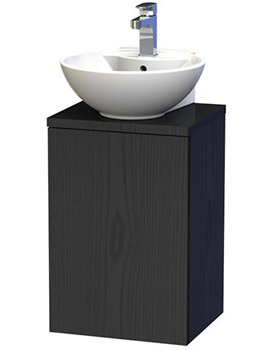 New York 40 Black Wall Hung Basin Vanity Unit With Door And Worktop