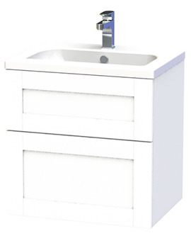 Miller London 60 White Two Drawer Wall Hung Vanity Unit - 588-2