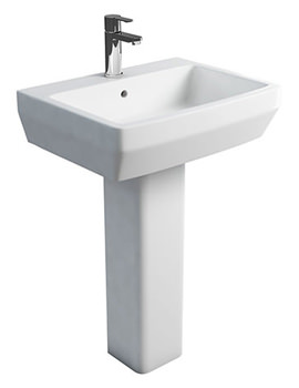 Related Britton Cube S20 Square 600mm Washbasin And Full Pedestal
