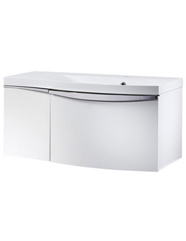 Serif 900mm Gloss White Right Hand 2 Drawer Wall Hung Unit With Basin
