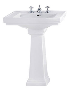 Astoria Deco 640mm Large Basin With Tall Pedestal White