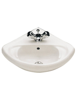 Anglo 495 x 420mm 1 Tap Hole Corner Washbasin - WB1911WH