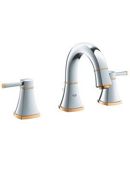Related Grohe Spa Grandera Chrome And Gold 3 Hole Basin Mixer With Low Spout