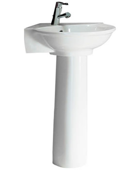 Evolution 1 Tap Hole Corner Basin With Full Pedestal - EVOBS1