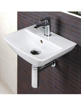 Summit 1 Tap Hole Wall Hung Hand Basin 400mm - SUM40BAS1