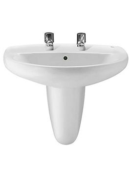Roca Laura 2 Tap Holes Wall Hung Basin 560mm Wide - 328396000