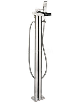 Water Square Floor Standing Bath Shower Mixer Tap With Kit
