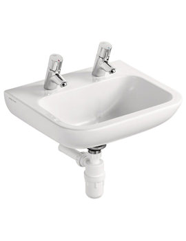 Portman 21 40cm 2TH Basin With No Overflow No Chainstay Hole