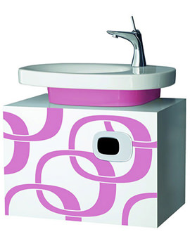 Related Laufen Mimo 650 x 450mm Vanity Unit - White With Pink Graphics