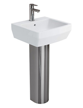 Related Britton Cube S20 Washbasin 500mm With Full Stainless Steel Pedestal