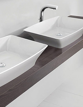 Related Duravit Delos White Console With 2 Cut-Out For Countertop Basin