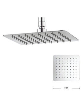 Glide 200mm Wide Square Fixed Shower Head