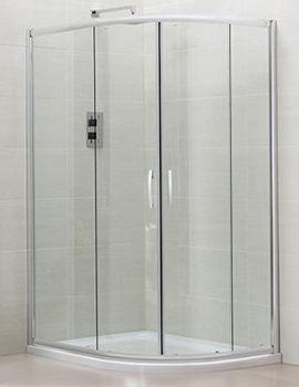 April Identiti2 Offset Double Door Shower Quadrant 900 x 760mm Silver