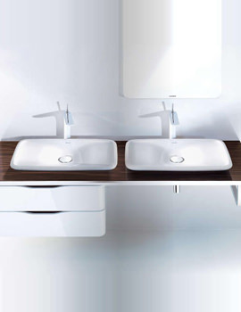 Duravit Puravida 1600mm Back-To-Wall Black Console With 2 Cut-Outs