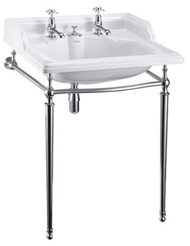 Burlington Classic Invisible Overflow Basin With Chrome Wash Stand