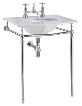Sophia Carrra Marble Slab With Chrome Wash Stand