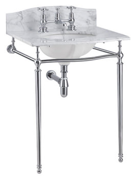 Burlington Margavine Carrara Marble Slab With Chrome Wash Stand