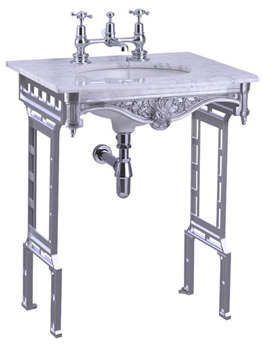 Related Burlington Sophia Carrara Marble Slab With Polished Aluminium Stand
