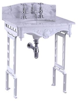 Margavine Carrara Marble Slab With White Aluminium Wash Stand