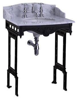 Sarah Marble Slab With Basin And Black Aluminium Stand