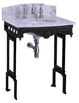 Margavine Carrara Marble Slab With Black Aluminium Stand