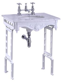 Sophia Carrra Marble Slab With White Aluminium Wash Stand
