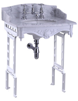 Sarah Carrara Marble Slab With White Aluminium Wash Stand