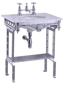 Sophia Marble Slab With Polished Aluminium Stand And Shelf