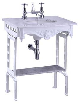Sophia Marble Slab With White Aluminium Wash Stand And Shelf