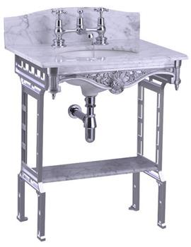 Margavine Marble Slab With Polished Aluminium Stand And Shelf