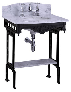 Margavine Marble Slab With Black Aluminium Stand And Shelf