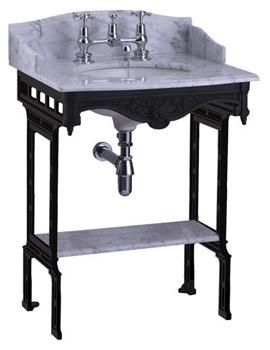 Sarah Marble Slab With Black Aluminium Stand And Shelf