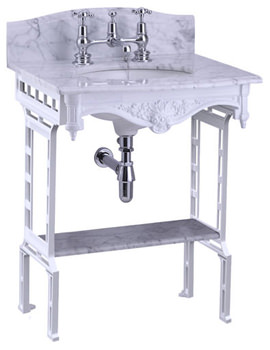 Margavine Marble Slab With White Aluminium Stand And Shelf