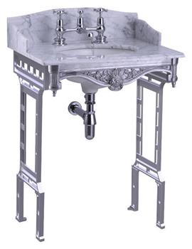 Sarah Carrara Marble Slab With Polished Aluminium Wash Stand