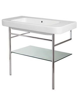 Tulip Wall Hung Basin 750mm And Chrome Frame With Shelf