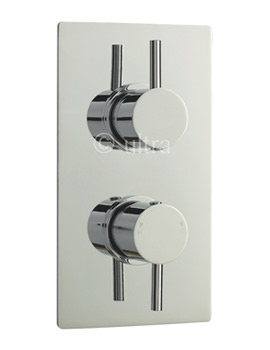 Quest Rectangular Twin Concealed Thermostatic Valve With Diverter