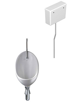 Clifton 1 Urinal Set With Exposed Flush Pipe And Cistern