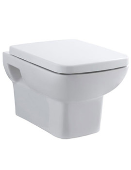 Square Wall Hung WC Pan With Soft Close Toilet Seat