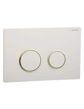 Sigma20 Plastic Flush Plate For UP320 Cistern - White And Gold